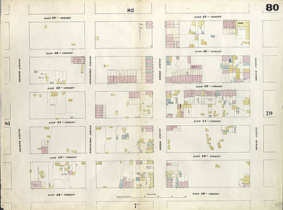 80 Drawing - Plate 80 Map Bounded By East 47th Street by Litz Collection