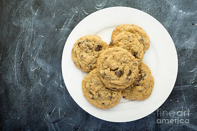 Plate Of Chocolate Chip Cookies Print by Edward Fielding
