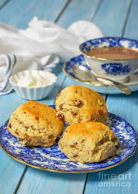 Vintage Blue Photograph - Plate Of Scones by Amanda Elwell