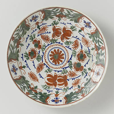 Plate Polychrome Faience Painted With Flower Decoration Print by Quint Lox