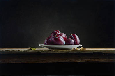 Plate With Plums Art Print by Mark Van crombrugge