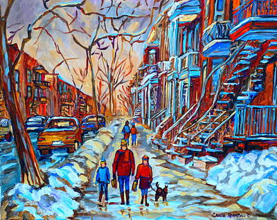 Quebec Streets Painting - Plateau Montreal Street Scene by Carole Spandau