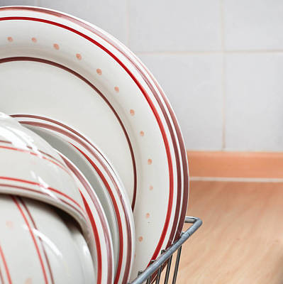Plates Drying Art Print by Tom Gowanlock