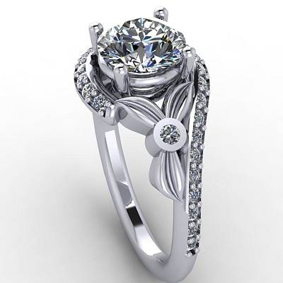14k Jewelry - Platinum Diamond Ring With Moissanite Center Stone by Eternity Collection