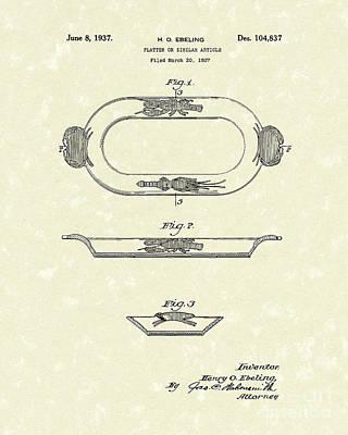 Platters Drawing - Platter 1937 Patent Art by Prior Art Design