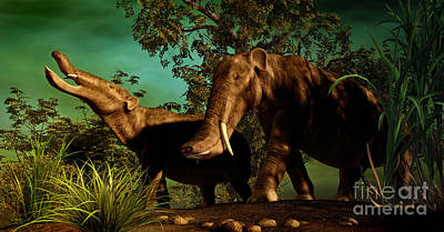 Animals Digital Art - Platybelodon Was A Large Herbivorous by Philip Brownlow