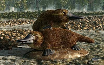 Platypus Digital Art - Platypuses by Daniel Eskridge
