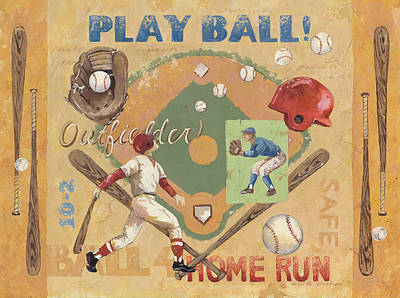 Baseball Painting - Play Ball by Anita Phillips