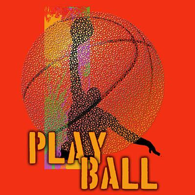 Basketball Painting - Play Ball Basketball Red by Jim Baldwin