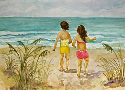 Kids Playing In Sand Painting - Play Date By The Sea by Bev Veals