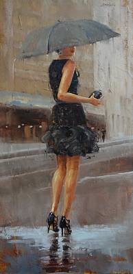 Evening Dress Painting - Play Date by Laura Lee Zanghetti