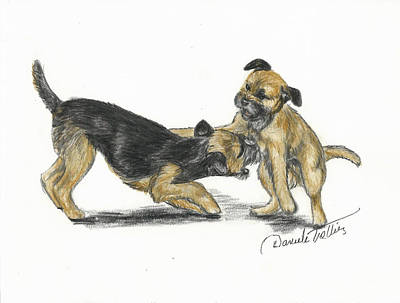 Puppy Drawing - Play Or Not by Daniele Trottier