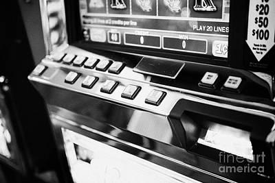 play per line buttons on video slot gaming gambling machines Las Vegas Nevada USA Art Print