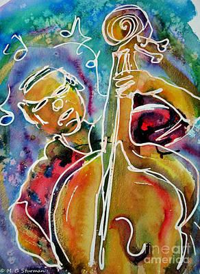 Painting - Play The Blues Bass Man by M c Sturman
