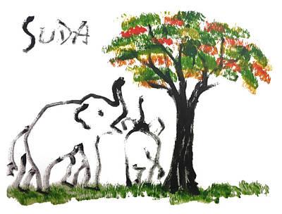 Prints - Elephant Paintings - Play Time Flames  Art Print by Phongsri Smeaton
