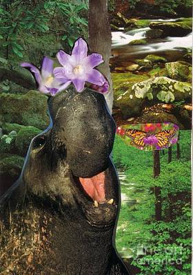 Hippopotamus Mixed Media - Play Time by Leslie Jennings