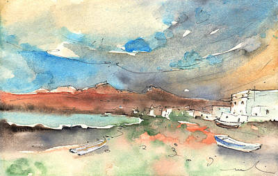 Impressionism Drawings - Playa Honda in Lanzarote 01 by Miki De Goodaboom
