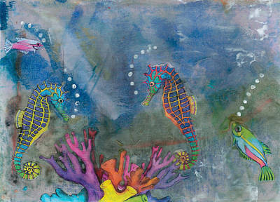 Phthalo Blue Mixed Media - Playful At Sea by Trish Tinsley