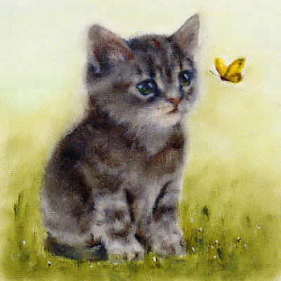 Gray Tabby Painting - Playful Cat Art Print by Junko Van Norman