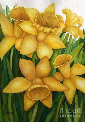 Playful Daffodils Art Print by Vikki Wicks