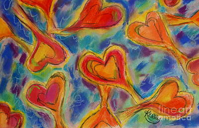 Mixed Media - Playful Hearts by Kelly Athena