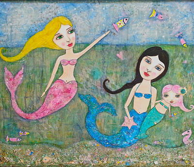 Playful Mermaids Original by Denise Sauer