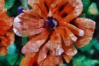 Tempera Mixed Media - Playful Poppies 1 by Angelina Vick