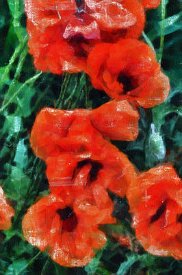 Tempera Mixed Media - Playful Poppies 5 by Angelina Vick