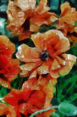 Tempera Mixed Media - Playful Poppies 7 by Angelina Vick
