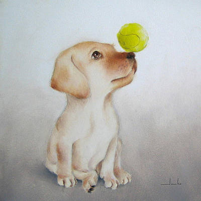 Painting - Playful Puppy Nursery Art by Junko Van Norman