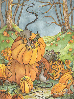Autumn Scenes Drawing - Playful Rats by Priscilla  Jo