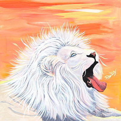 Painting - Playful White Lion by Phyllis Kaltenbach