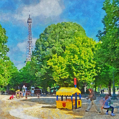 Digital Art - Playground On The Champ De Mars And The Eiffel Tower by Digital Photographic Arts