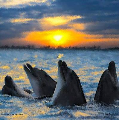 Dolphin Painting - Playing At Sunset by Bruce Nutting