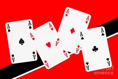 Bachelor Pad Art Photograph - Playing Cards Aces by Natalie Kinnear