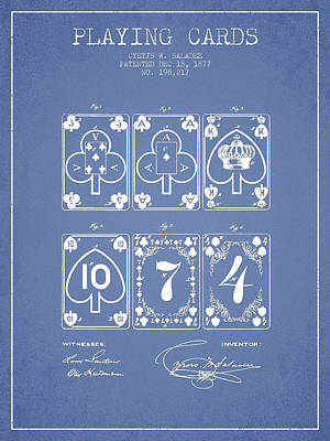 Digital Art - Playing Cards  Patent Drawing From 1877 - Light Blue by Aged Pixel
