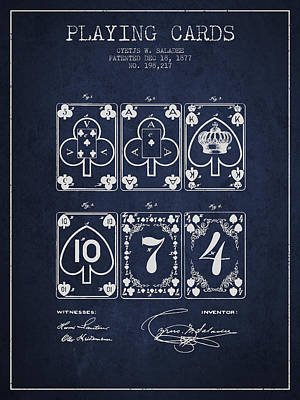Playing Cards  Patent Drawing From 1877 - Navy Blue Art Print