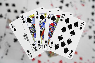 Royal Flush Photograph - Playing Cards - Royal Flush by Natalie Kinnear