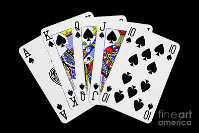 Royal Flush Photograph - Playing Cards Royal Flush On Black Background by Natalie Kinnear