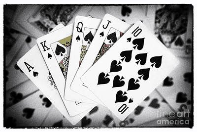 Bachelor Pad Art Photograph - Playing Cards Royal Flush With Digital Border And Effects by Natalie Kinnear