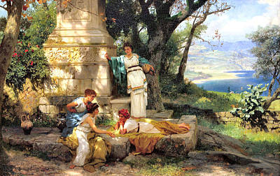 Greek Columns Digital Art - Playing Dice by Henryk Siemiradzki