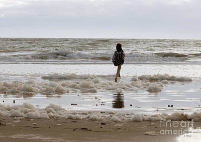 Photograph - Girl Playing In Sea Foam by Haleh Mahbod