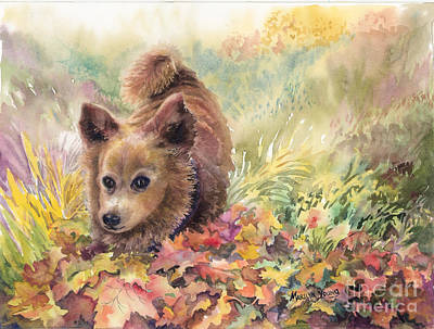 Playing In The Leaves Art Print by Marilyn Young