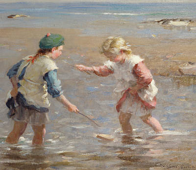 Kids Playing In Sand Painting - Playing In The Shallows by William Marshall Brown