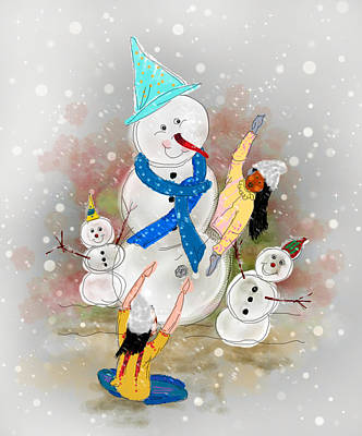 Playing In The Snow Art Print by Dumindu Shanaka