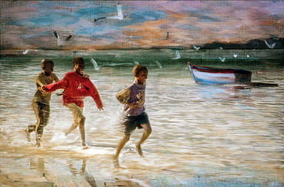Playing In The Water Art Print