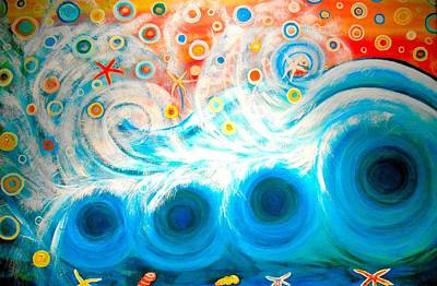 Painting - Playing In The Waves by Shirley Smith
