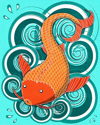 Digital Art - Playing Koi by Shawna Rowe