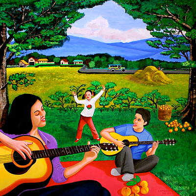Filipino Artist Painting - Playing Melodies Under The Shade Of Trees by Cyril Maza