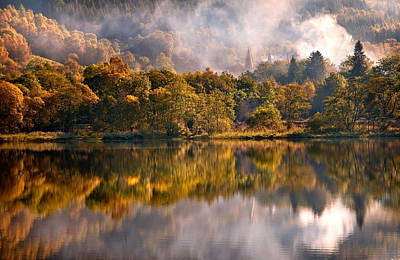 Playing Mirror. Loch Achray. Scotland Print by Jenny Rainbow